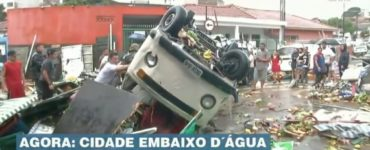 Temporal arrasta carros e barracas de feira em Pirituba